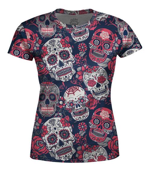 Camiseta Baby Look Feminina Caveiras Mexicanas Estampa Total