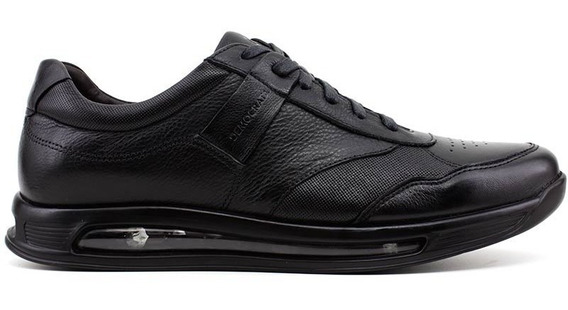 Sapato Democrata Air 360 202101 Couro Cor Preto