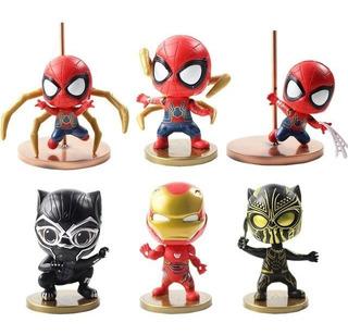Set Avengers X 6 Spiderman Black Panther Iron Man 10 Cm
