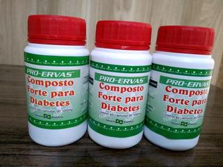 3 Frascos De Composto Forte P Diabetes 60 Cápsulas De 500mg