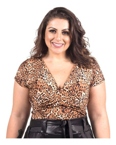 Body Bori Plus Size Oncinha Animal Print G1 G2 G3 G4 Blusa