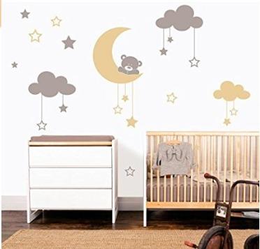 Vinilos Decorativos Pared Luna Nubes Osos Cuarto Bebe Deco - $ 630 ...