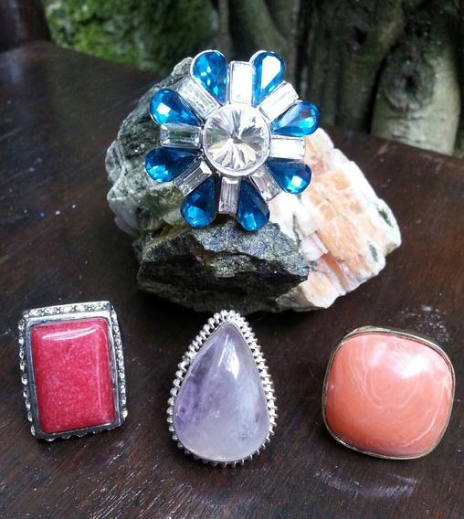 Anéis Com Pedras Maxi Aneis Lote Com 4