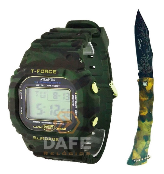 Kit Camuflado Relógio E Canivete Originais C/ Caixa E Nf