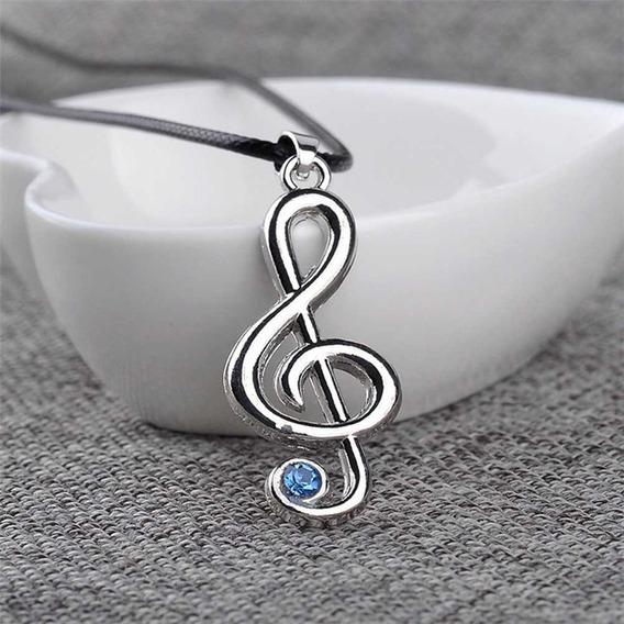 Collar Música Nota Musical Con Piedra Azul Envio Gratis