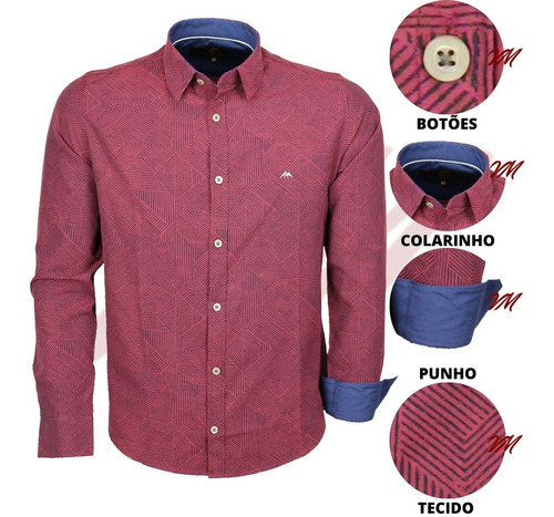 Imagem 1 de 3 de Camisa Social Masculina Misto Peletizado Geométrico 20078