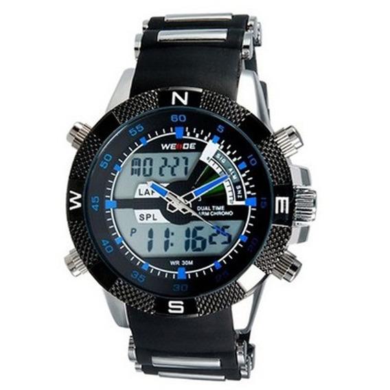 Relógio Masculino Anadigi Weide Esporte Wh-1104 Preto E Azul