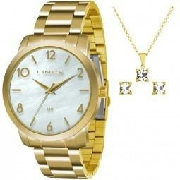 Kit Relógio Lince Feminino C/ Colar E Brinco Lrg4374l Ku17
