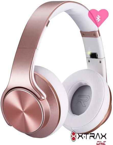 Fone Xtrax Rosé Feminino Bluetooth Rádio Fm Cartão Sd Novo