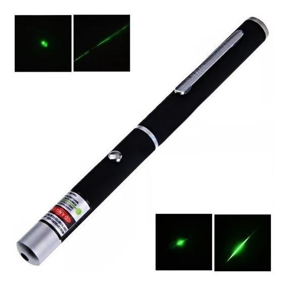 Caneta Laser Pointer Verde Luz Green 5 Pontas Efeitos Estojo