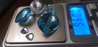 Lote De Topázio Azul Com 96,00 Cts Gemas Naturais