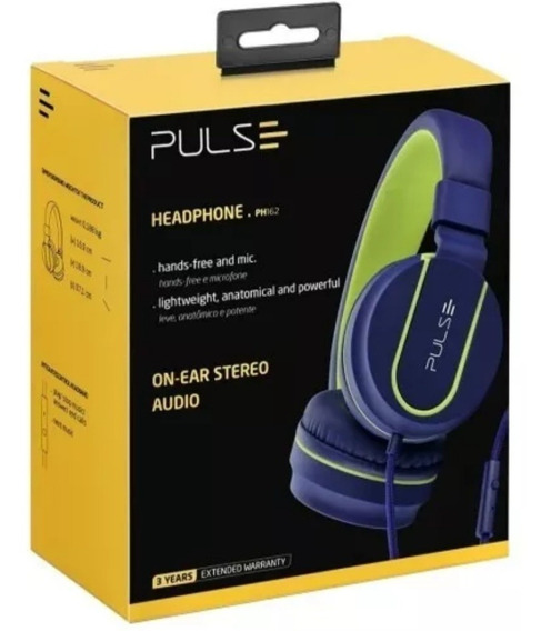 Headphone Pulse Ph 162 Com Fio Azul E Verde