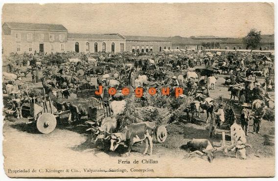 Antigua Postal Kirsinger Carro Buey Feria De Chillan Chile