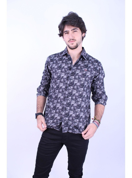 Camisa Social Ogochi Masculina Preta Estampada 001418742