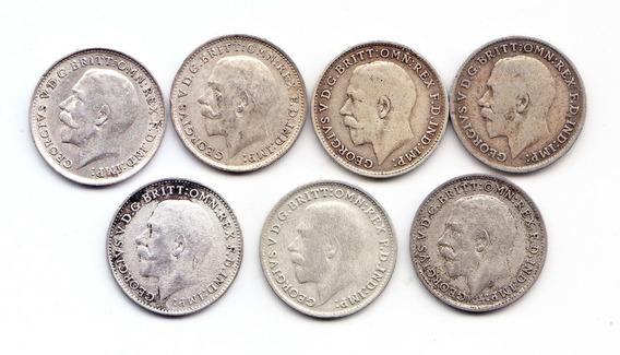 Gran Bretaña. 7 Three Pence 1916/17/18/19/20/21/22. Plata.