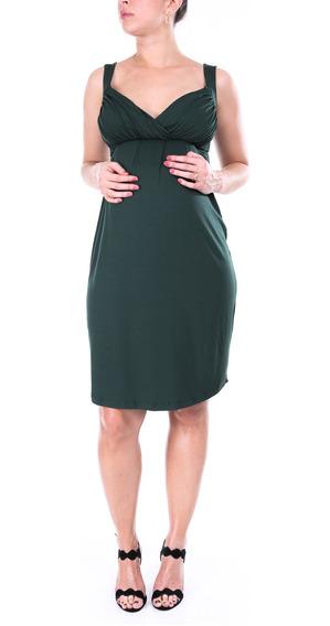 Vestido Gestante Bojo Franzido Verde