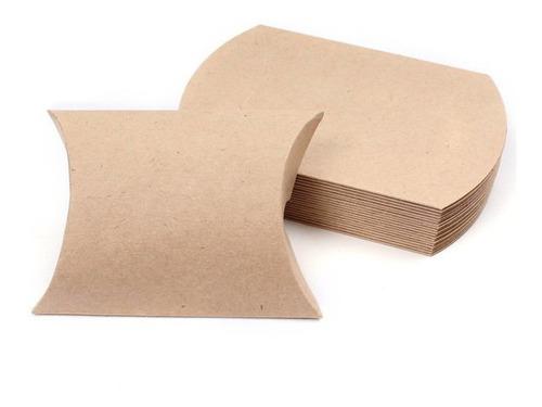 Caixa De Presente Em Kraft Travesseiro 50 Peças 11.5 X 6.8cm