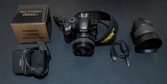Câmera Nikon D3200 Com 2 Lentes Impecável