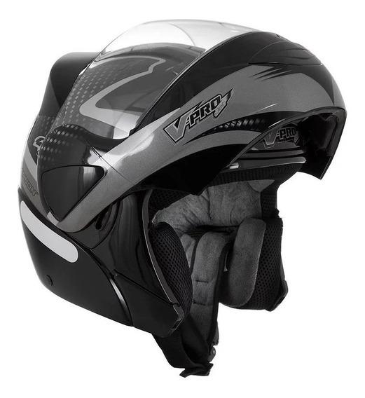 Capacete para moto escamoteável Pro Tork V-Pro Jet 2 Carbon preto/cinza tamanho 58