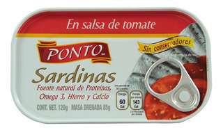Sardinas Ponto En Salsa De Tomate 120 Gr