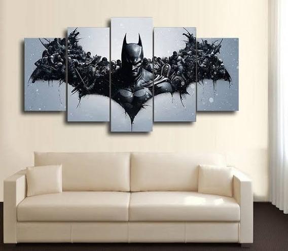 Lindo Quadro Painel Em Mdf 5 Partes Batman Herois Hq