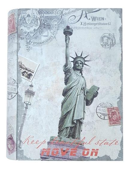 Livro Decorativo Em Metal New York Estátua Liberdade 15064