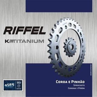 Relação Coroa + Pinhão Yamaha Mt 03-r3 Riffel Titanium 44x14 + (chaveiro Brinde)