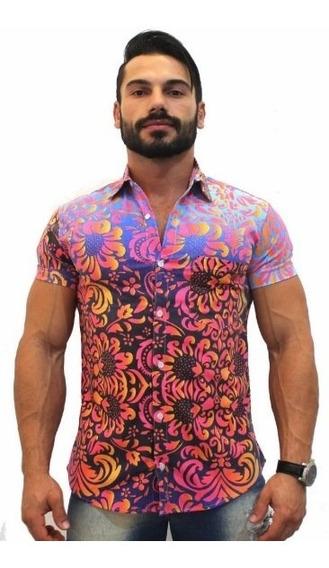 Camisa Social Masculina Luxo Lançamento Floral Ref36