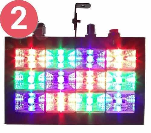 2 Strobo Rítmico 12 Leds Coloridos Iluminação Festa Balada