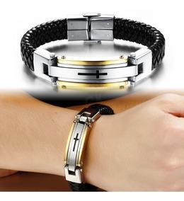 Pulseira Masculina Bracelete Couro Legítimo Aço Inox 316l