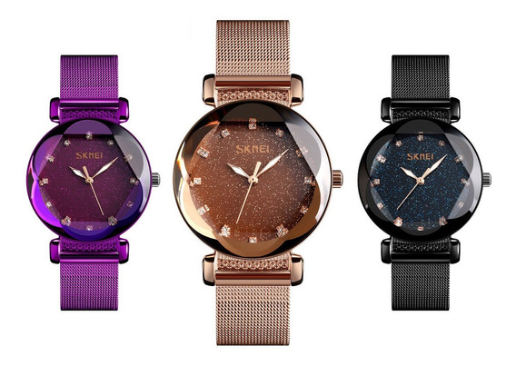 Relógio Feminino Céu Estrelado Skmei 9188 Pulseira Milanesa