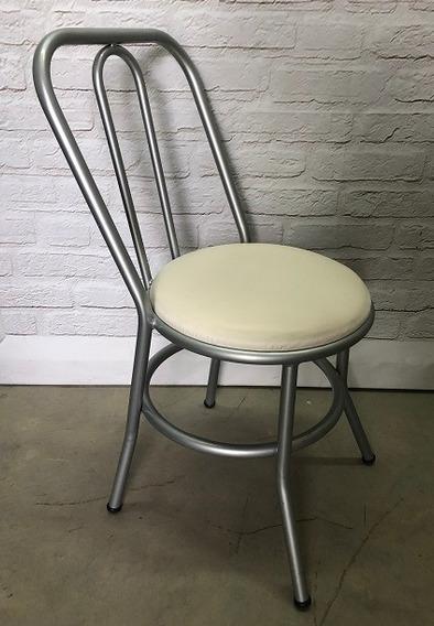 Kit 2 Cadeira Tubular Estofada Cozinha Branca