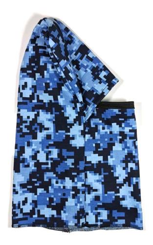 Imagen 1 de 2 de Balaclava Pasamontañas Cubrebocas Bici Camuflaje Pixel Azul