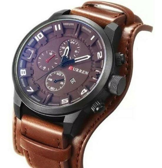 Relógio Couro Curren 8225 Casual Elegante Masculino