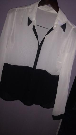 Camisa Gasa Blanco Y Negro