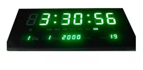 Relógio Parede Led Verde Digital Temperatura 33cm Sing Clock
