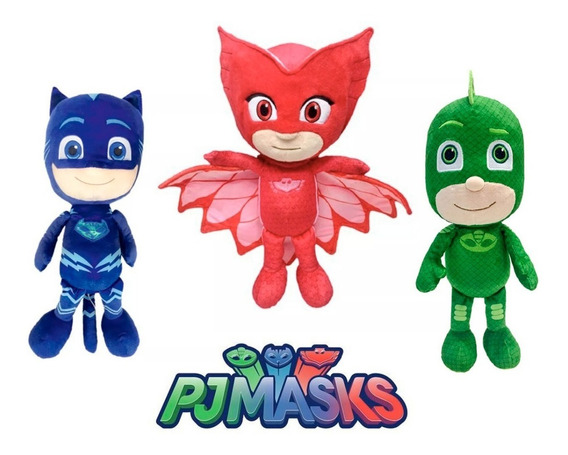 3 Pelúcias Pj Masks Grande 50 Cm Dtc