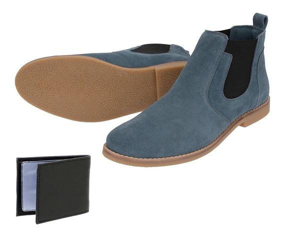 Bota Chelsea Boots Lisa Sir.w Couro Camurça Azul + Brinde