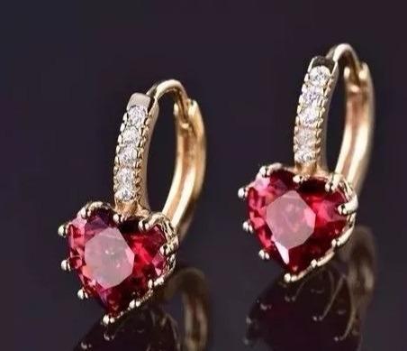 Brinco Coração Vermelho Cristal Lindo Presente Para Mulher