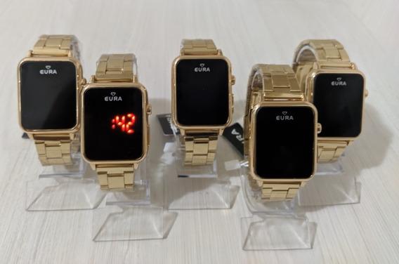 Kit Com 5 Relógios Eura Quadrado Touch+brinde Atacado