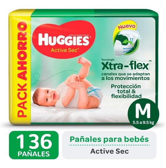 Pañales Huggies Active Sec Xtra-flex Promopack Pack X 2