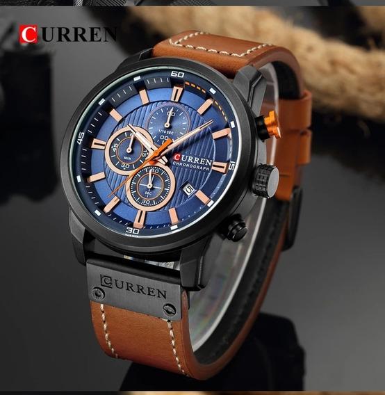 Relógio Masculino De Luxo Pulseira Em Couro Curren