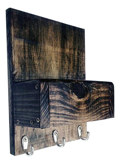 Porta Chaves Decorativo Rústico Com Porta Trecos Art Madeira