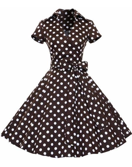 Vestido De Bolinha Anos 60 Baile Retro Vintage Pinup Plus Size Bola Festa Fantasia Sessenta Midi 70 Saia Rodado Poa P07c
