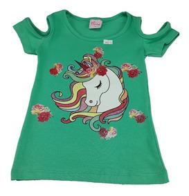 Roupas Femininas Infantis Meninas Estampa Unicórnio Cotton