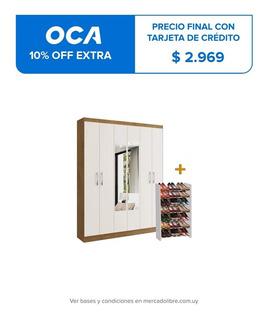 Ropero Placard Armario 6 Puertas + Zapatera Dormitorios