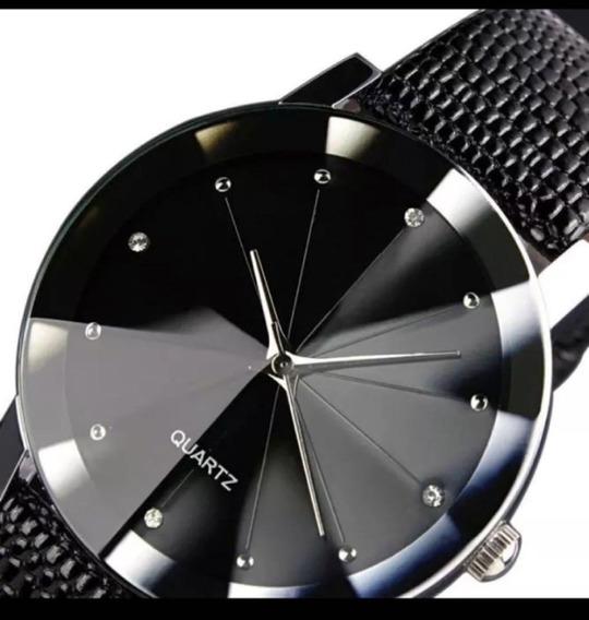 Relógio Masculino Pulseira De Couro Preta Quartz