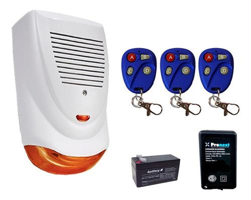 Imagen 1 de 1 de Alarma Vecinal Inalambrica Casa Estrobo Led Control Bateria