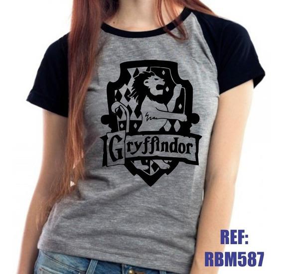 Camiseta Raglan Baby Look Harry Potter Grifinória Mescla