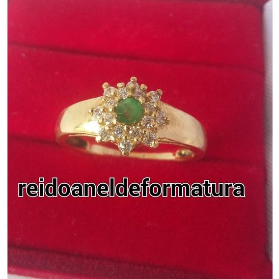 Anel Formatura Bioquimica Ouro18k Esmeralda Natural